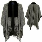 Women's Faux Fur Collar Trim Dogtooth Wrap Shawl Ladies Tassel Waterfall Cape