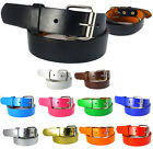 Внешний вид - Boys Girls Leather Belt Plain School Dress Removable Buckle Kid Black Brown S-XL