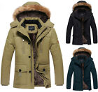 BF1059 New Mens Winter Hooded Fur Collar Coat Thicken Warm Jacket Parka