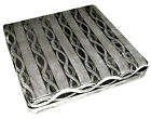mq04t Silver Black Ash Grey Wave Stripe Shimmer Velvet 3D Box Seat Cushion Cover