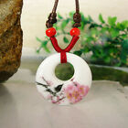 HOT Flower Painted Porcelain Ceramic Pendant Necklace Oriental Ring China-wind B