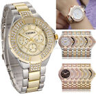 Womens Ladies Stainless Steel Wrist Watch Bling Crystal Gold Dial Quartz Gift LE