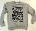 kev munday sweatshirt crew neck grey oversized print street art streetwear S -XL