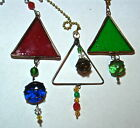 Assorted Stained & fused glass triangle ceiling fan light chain pulls free ship