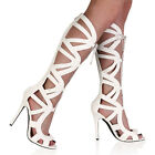 NEW WOMENS WHITE PEEP TOE LADIES CUT OUT KNEE HIGH STILETTO HEEL SHOES SIZE 3-8