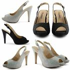 NEW LADIES HIGH HEEL ANKLE STRAP DIAMANTE PEEP TOE SANDALS WOMENS SHOES SIZE