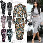 Womens Ladies Polo Neck Crop Top Long Sleeve Side Ruched Stretchy Midi Skirt Set