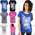 Womens Ladies Flower Butterfly Rose Glitter Side Ruched Batwing Sleeve Baggy Top