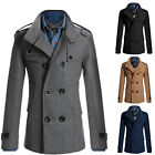 Fashion Mens Casual Double Breasted Long Trench Warm Overcoat Coat Jackets Parka