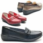 WOMENS LADIES FAUX LEATHER LOW WEDGE SHOES MOCCASINS DECK BOAT PUMPS SIZES
