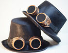 STEAMPUNK-GOTHIC-WHITBY-SCI FI-COSPLAY-BUDGET TOP HAT & BRASS STYLE GOGGLES