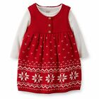 Carters Newborn 3 6 Months Knit Jumper & Bodysuit Set Baby Girl Clothes Holiday