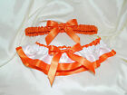 Orange and White Garter Set Wedding Prom INCLUDES Tossing Garter & Charm