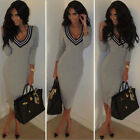 Sexy Womens V Neck Party Evening Cocktail bandage Bodycon Pencil Long Midi Dress