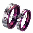 Purple Stainless Steel Ring Men's Women's Couple Wedding Engagement Bands