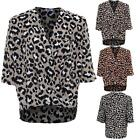 Womens V Neck Wrap Open Front Leopard 3/4 Sleeve Chiffon Top Loose Blouse