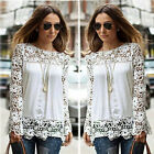 New Womens Embroidery Lace Chiffon Long Sleeve Top Tee Shirt Blouse Size 8-16-26