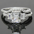 Sterling Silver Clear Solitaire Sim Diamond Engagement Wedding Ring Band Set.