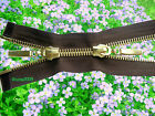 BROWN ZIP METAL/GOLD TEETH OPEN ENDED & TWO WAY No 5 Different Sizes:110-58 cm