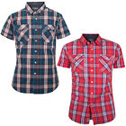 Mens Check Shirt Crosshatch Backoff New Short Sleeve Casual Collared Cotton Top