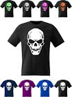 Skull T Shirt Boys Girls Top Goth Horror Fancy Dress Kids Pirate Gamer Reaper