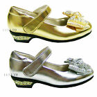 GIRLS' KIDS VELCRO WEDDING BRIDESMAID PARTY METAL HEELS SIZE 1 2 3