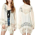 Plus 5 Size Women Boho Crochet Lace Floral Cardigan Coat Jacket Top Shirt Kaftan