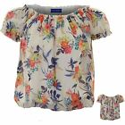 Womens Chiffon Lined Floral Short Sleeve Elasticated Trim Hem Top Blouse