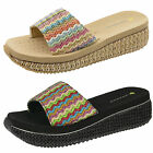 Womens Raffia Wedge Sandal Dunlop Ladies Cushioned Slip On Flip Flop Mule Shoe