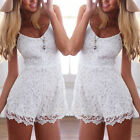 Womens Ladies White Floral Lace Playsuit Short Jumpsuit Shorts All In One Piece
