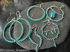 Hand crafted wire wrapped earrings turquoise blue glass beads 925 filled hook #5