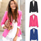 Candy Color Long Sleeve Button Slim Casual Lady Blazer Suit Jacket Coat Outwear