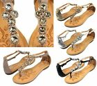 Ellin1 Flats T-Strap Wedding Comfort Sandals Gladiator Party Beach Women Shoes
