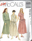 McCall's Sewing Pattern 7618 Misses Loose Fitting Dress Uncut