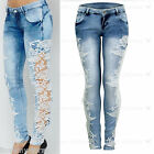 Ladies Crochet Side Lace Skinny Fit Low Rise Acid Wash Womens Denim Blue Jeans