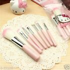 7pcs sets Hello Kitty KT Lovely cartoon Pink Makeup brush With Packaging bag