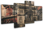 Paris Vintage Collage City MULTI CANVAS WALL ART Picture Print VA