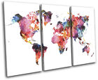 Watercolour  Abstract Maps Flags TREBLE CANVAS WALL ART Picture Print VA