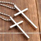 "Unisex Womens Mens Silver Stainless Steel Cross Pendant Necklace Chain Gift 19""L"