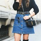 ZARA NEW COLLECTION 2015. A LINE BLUE DENIM MINI SKIRT WITH BUTTONS. BLOGGERS.