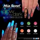 "MIA SECRET NAIL ART ""GLOW IN THE DARK"" ACRYLIC POWDER  6 COLORS -MADE IN USA"