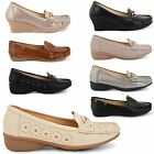 WOMENS LADIES CASUAL SUMMER LOW MID WEDGE HEEL LOAFER MOCCASINS SHOES PUMPS