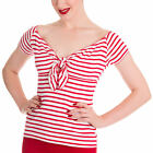 Hell Bunny Dolly Nautical Red Stripe Tie Top Sizes 8 - 22
