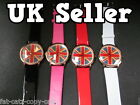 NEW UNISEX UNION JACK BIG FACE BLING DIAMONTE FAUX LEATHER WRIST WATCH SELLER