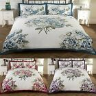 Bouquet Roses Double Bed Size Floral Flowers Leaves Bordered Duvet Cover Quilt