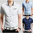 Summer Men's Stylish Slim Casual Shirts Sexy Short-sleeve Dress shirts DT89 XS-L