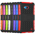 Microsoft Lumia 640 Dual Layer Shockproof Cover Hybrid Rugged Case w/ Kickstand