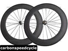 Straight Pull Carbon Road Bicycle Wheel 88mm Clincher/Tubular Powerway R36 Hubs