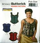 BUTTERICK SEWING PATTERN 5662 Bustier Corset Bodice Top Costume Pick Size