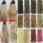 "24"" Half Full Head 5 Clip One Piece clip in Hair Extensions natural jet black"